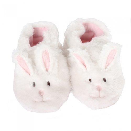 Robeez Fuzzy Bunny Slipper Crib Shoe (Infant), White, 12-18 Months M US Infant