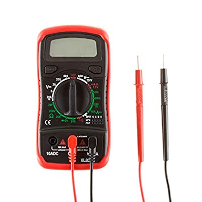 Digital Multimeter with Backlit LCD Display and Needle Probes- Amp, Ohm and Voltage Tester for Outlets, Wire Continuity and Batteries