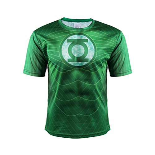 Men's Green Lantern Sport T Shirt,Super Hero Workout Shirt Costume -