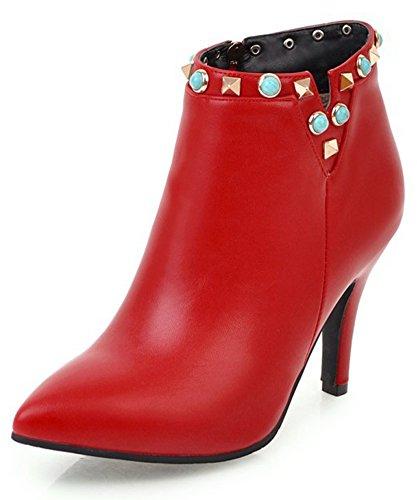 Aisun Kvinners Dressy Spiss Tå Inne Zippe Piggdekk Booties Stiletto Høye Hæler Ankel Boots Med Nagler Røde