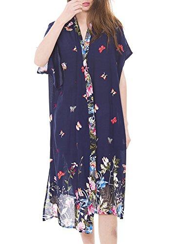 MIRMARU Women's Summer Floral Bikini Kimono Beachwear Swimsuit Cover up Cardigan ()