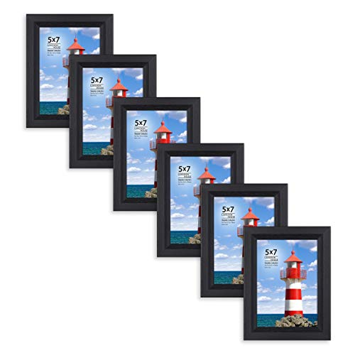 Langdons 5x7 Picture Frame (6 Pack, Black), Sturdy Wood Composite Photo Frame 5 x 7, Wall Mount or Table Top, Set of 6 Seaside Collection