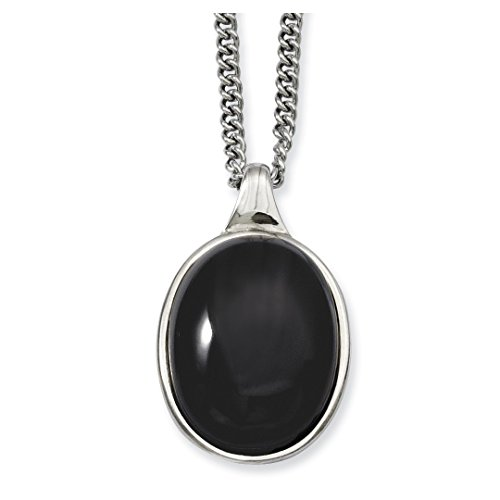 ICE CARATS Stainless Steel Black Agate Pendant Chain Necklace Man Natural Stone Fashion Jewelry Ideal Mothers Day Gifts For Mom Women Gift Set From Heart