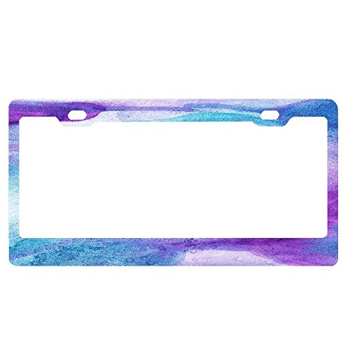 GqutiyulUCOOL Personalized License Plate Frame Holder, Amethyst Watercolor Decorative License Plate Frame Aluminum Metal Car Tag Holder ()