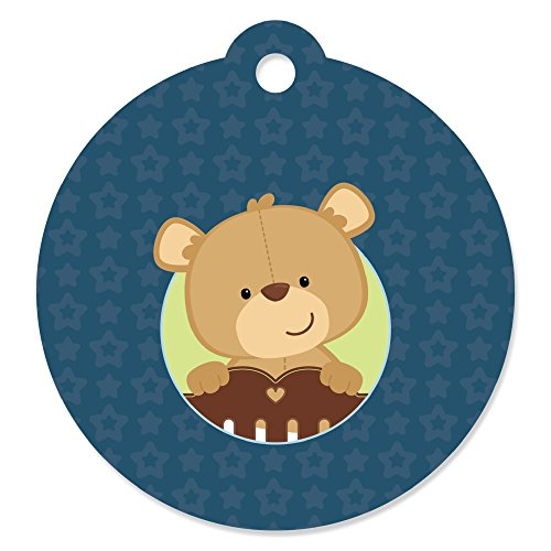 Boy Baby Teddy Bear - Baby Shower or Birthday Party Favor Gift Tags (Set of 20)