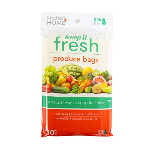 Keep it Fresh Produce Bags - BPA Free Reusable Freshness Green Bags Food Saver Storage for Fruits, Vegetables and Flowers - Set of 30 Gallon Size Bags (Peak Fresh Produce Bags)