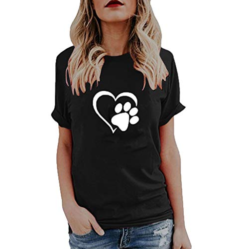 Willow S Womens 2019 Summer Fashion Sport Cute Print Tops O-Neck Short Sleeve Loose T-Shirts Tops Blouse Black