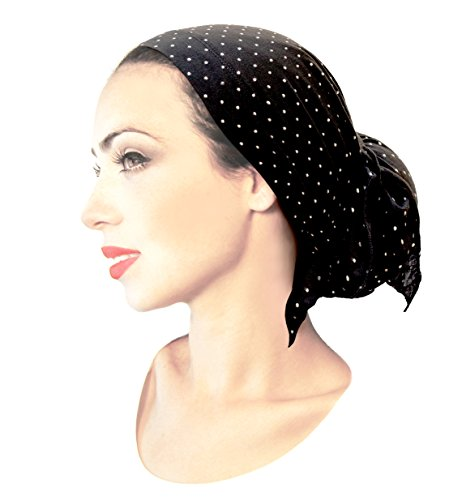 Black Tichel Pre-Tied Headscarf Soft Cotton Headwrap Sparkles Shimmer Collection! (Black Silver Dots Long) (Cotton Lightweight Headwrap)