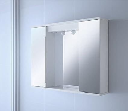 Armario de baño con espejo y puerta de cristal Volga 800: Amazon.es: Bricolaje y herramientas
