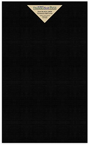 50 Black Linen 80# Cover Paper Sheets - 8.5