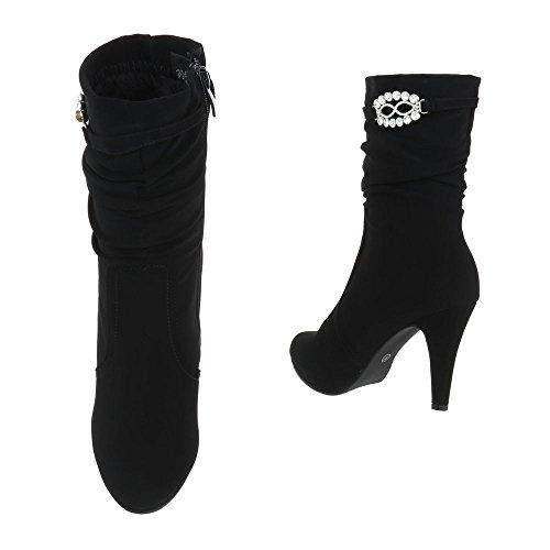 Elegante Stiefel | Damen Boots | Elegante Spitze Stiefel | Stilettoabsatz Langschaft Stiefel | Leder-Optik Stiefel | hochwertige Stiefel | Schuhcity24 Schwarz 1