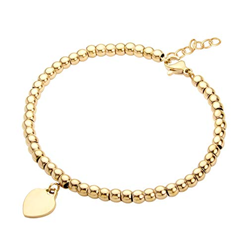 555Jewelry Womens Stainless Steel Metal Love Heart Pendant Charm Beaded Ball Delicate Adjustable Delicate Cute Fashion Girls Gift Bangle Accessory Jewelry Link Bracelet, Yellow Gold