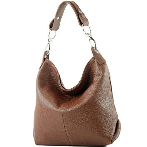 Leather T168 Leather Shoulder bag Ladies bag de bag ital modamoda Brown Shoulder bag xUwnwvP