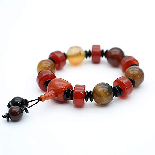 Mayanyan Natural Dragon Agate Bracelet Tibetan Type Male and Female Old Agate Buddha Beads Bracelet Personality Gifts