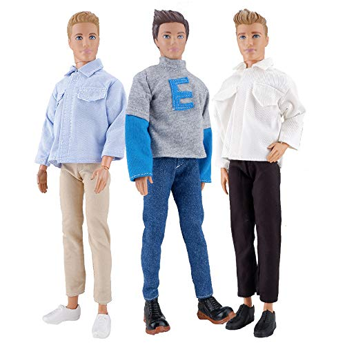 - E-TING 3 Sets Casual Wear Shirt Doll Clothes Jacket Pants Outfits for 12 inches boy Dolls Casual Shirt