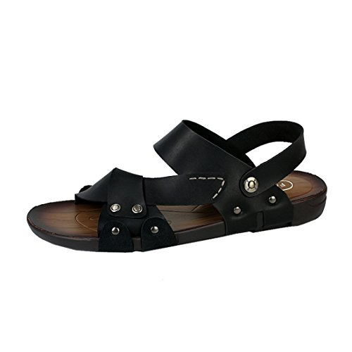 Flip Flops Black amp;W Casual H With Sandals Leather Ankle Outdoor Mens Moveable Strap 6HwqY
