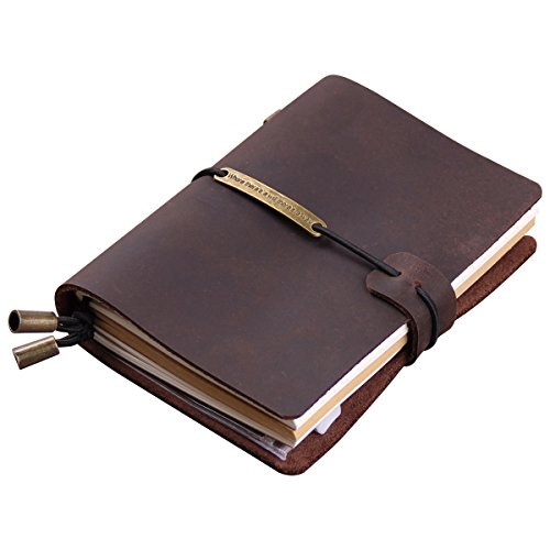 "Robrasim Refillable Handmade Traveler's Notebook, Leather Travel Journal Notebook for Men & Women, Perfect for Writing, Gifts, Travelers, 5.2"" x 4"" Inches - Coffee"