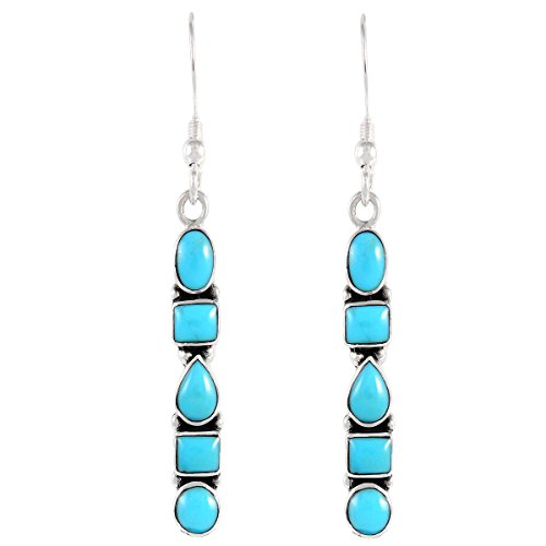 Turquoise Earrings 925 Sterling Silver & Genuine Turquoise (Select style) (Artisan)