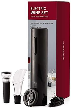 Kit Sacacorchos Vino Vino eléctrica abrelatas con el cargador, batería recargable del vino abridor automático con pilas - 4-en-1 Sacacorchos Palanca Sacacorchos ( Color : Silver , Size : 10x9x29cm )