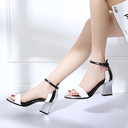 Fibbia Tacchi Donna Partito High Sandali Donne Toe Roma Paillettes Sexy Heel con Princess Sandali 2018 Estate Party Spesso Italily Elegante Cm Word 7 Alti Open Bianco Sandali qAwz7qd
