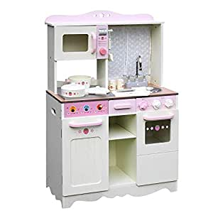 Kids Wooden Kitchen Pretend Play Set Children Toy Cooking Home Cookware Chef