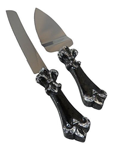 Platinum Fleur De Lis Collection Cake And Knife Set C1758 Quantity of 1
