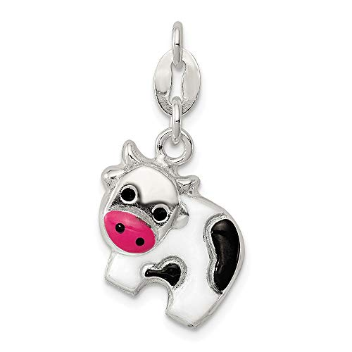 925 Sterling Silver Enameled Cow Pendant Charm Necklace Animal Fine Jewelry Gifts For Women For Her