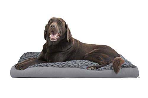 FurHaven Pet Dog Bed | Deluxe Ultra Plush Pillow Pet Bed for Dogs & Cats, Gray, Large