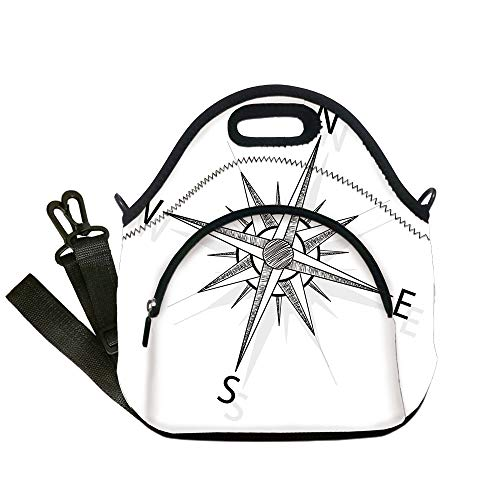 Insulated Lunch Bag,Neoprene Lunch Tote Bags,Compass,Black and White Compass for Finding Your Way on the Sea Marine Life Exploration,Black White,for Adults and children