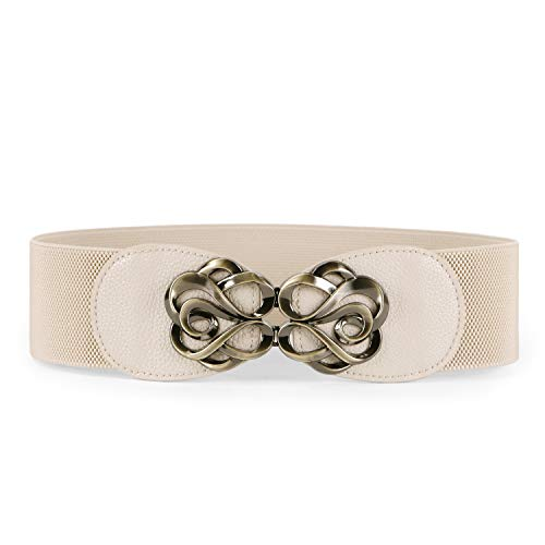 JASGOOD Women Stretchy Belt for Dresses Vintage Elastic Wide Waist Belt