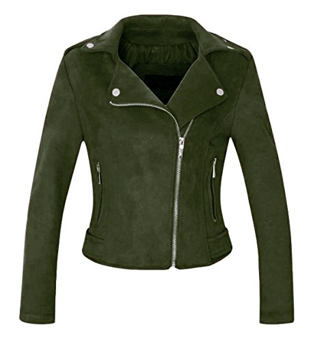 (Chartou Women's Stylish Notched Collar Oblique Zip Suede Leather Moto Jacket (Medium, Army Green))