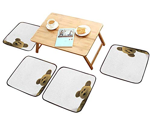 Home Chair Set Teddy Bear Looking in from The Right of Frame White for Text Machine-Washable W21.5 x L21.5/4PCS Set