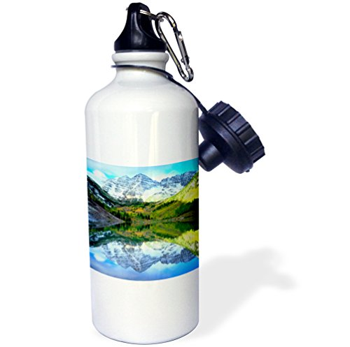 3dRose wb_207843_1 USA, Colorado Rocky Mountains, Maroon Bells reflect in Maroon Lake Sports Water Bottle, Multicolored, 21 oz