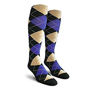 Argyle Golf Socks: Over-the-Calf - Black/Khaki/Royal - Mens