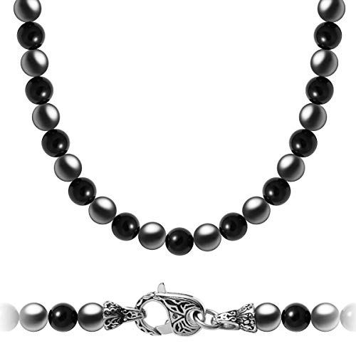 WESTMIAJW Mens Magnetic Hematite Black Onyx Beads Gemstones Necklace Chain 24