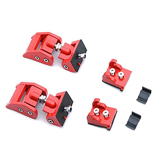 AutoK Aluminum Hood Catch Latches Kit For 2007-2017 Jeep Wrangler JK & Unlimited Red