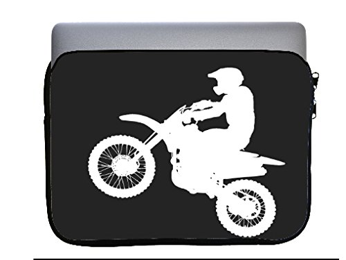 Dirt Bike Dirtbike Silhouette 13x10 inch Neoprene Zippered Laptop Sleeve Bag by Moonlight Printing for Macbook or any other Laptop by Moonlight Printing