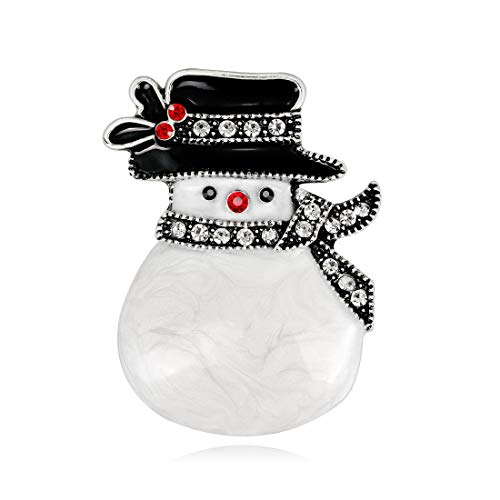 - YAVONA Cartoon White Crystal Snowman Brooches pins for Women Brooches Decorations Jewelry (Vintage Silver)