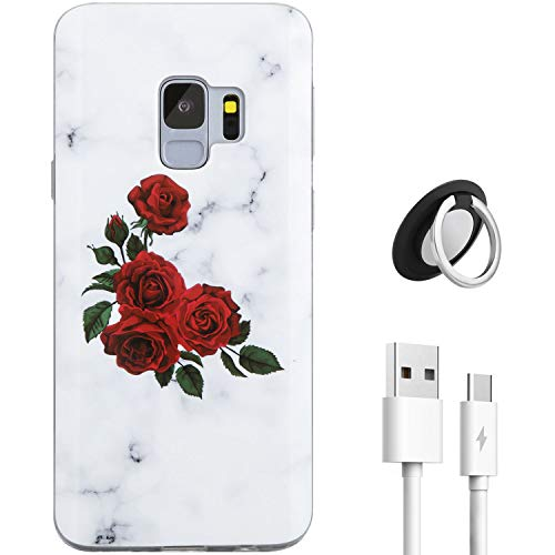 (for Samsung Galaxy S9 Case,REEJAX Soft Silicone TPU Case Come with Type C Charging Cable and Rotatable Kickstand Nice Rose Marble for Girls Women Slim Fit Protective Cover for Galaxy S9 5.8 inch)