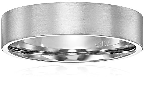10k White Gold 6mm Comfort Fit Flat Wedding Band with Soft Satin Finish, Size 7.5 (Soft Finish Gold)