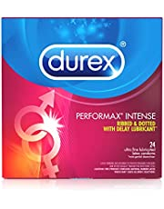 Condoms, Ultra Fine, Ribbed, Dotted with Delay Lubricant, Durex Performax Intense Natural Rubber Latex Condoms, 24 Count, Contains Desensitizing Lube for Men, FSA & HSA Eligible