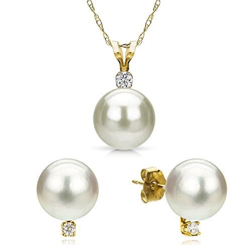 Freshwater Cultured White Pearl Necklace Pendant 14K Yellow Gold Stud Earring Wedding Set 6-6.5mm 18 inch by La Regis Jewelry