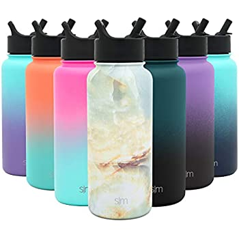 Simple Modern 32 oz Summit Water Bottle with Straw Lid - Gifts for Men & Women Hydro Vacuum Insulated Tumbler Flask Double Wall Liter - 18/8 Stainless Steel Pattern: Cumulus