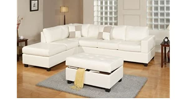 Astounding 3Pc Bonded Leather White Modern Reversible Sectional Couch Dailytribune Chair Design For Home Dailytribuneorg