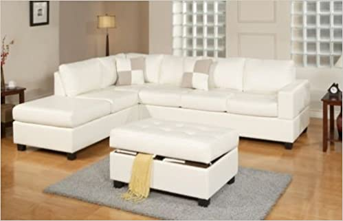 Cool 3Pc Bonded Leather White Modern Reversible Sectional Couch Beatyapartments Chair Design Images Beatyapartmentscom