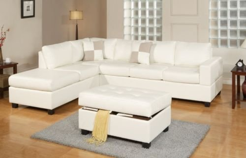 Price comparison product image 3PC Bonded Leather White Modern Reversible Sectional Couch- Sofa Chaise Ottoman