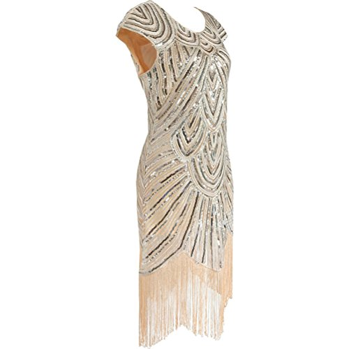 Abendkleider 1920er Damen Cocktailkleider Beige Kleider Elegant Pailletten Midi Fransen Vintage Oudan Faltenrock 0Fdx7F