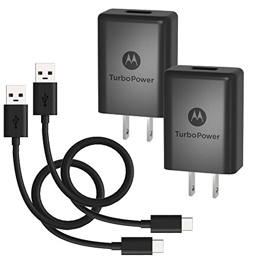 [2 Pack] Motorola TurboPower 15+ QC3.0 Wall Chargers w/USB-C cables for Moto X4, Z2 Force/Play, Z3 Play, G6, G6 Plus/Type C devices (Retail Box)