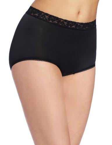 - Wacoal Underwear Bodysuede Lace Waist Brief, Black, Size 6