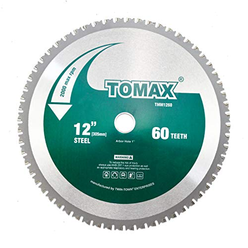 TOMAX 12 Inch 60 Tooth Industrial Level Steel and Ferrous Metal Saw Blade with 1 Inch Arbor